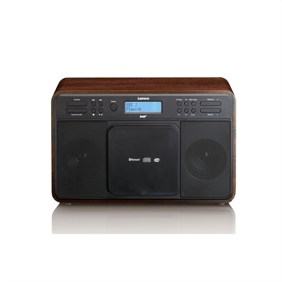 lenco dar 040 dab radio mit cd player bluetooth mp3 player usb aux oak secomp ag. Black Bedroom Furniture Sets. Home Design Ideas